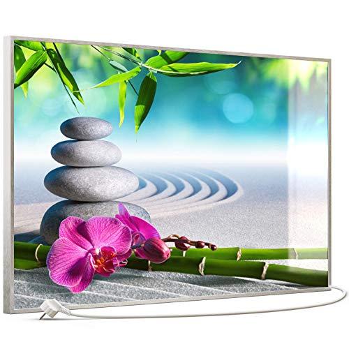 STEINFELD Heizsysteme® Glasheizung Bild Heizung Infrarotheizung mit TS 20 Thermostat | Made in Germany | Motive 059 Zen-Garten (600 Watt, silber/Alu)