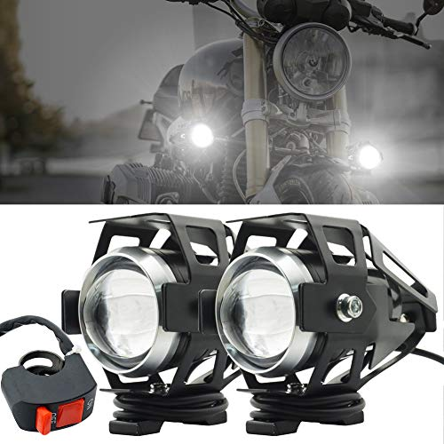 Biqing 2PCS Faros delanteros para motocicleta,Cree U5 faros auxiliares de moto, 125W 3000LM Focos Antinieblas Luces Moto Led Con interruptor universal(Negro)