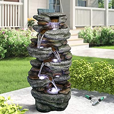 """PeterIvan Outdoor Relaxing Water Fountain - 40 3/5"""" H 6-Tier Outdoor Fountain with 6 LED Lights, Stone-Liking Natural Looking Resin Waterfall Fountain for Patio, Garden, House&Office (40.6inch, Grey)"""