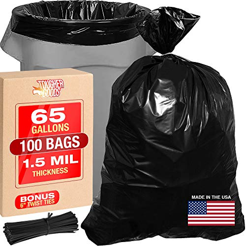 X-Large 65 Gallon Black Trash Bags - Heavy Duty Bags for Garbage, Storage - 1.5 Mil Thick, 50'Wx48'H Industrial Grade Trash Bags for Construction, Yard Work, Commercial Use - by Tougher Goods (100)