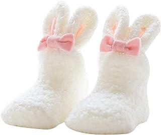 Sukisuki - Calcetines para bebé (Forro Polar, Antideslizantes, Gruesos), Lana Coral, Blanco, 0-1 Años