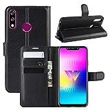 XMTON LG W10 6.19' Custodia,Premio PU Custodia in Pelle con Wallet,Magnete,Slot per Schede Case Cover per LG W10 Smartphone (Nero)