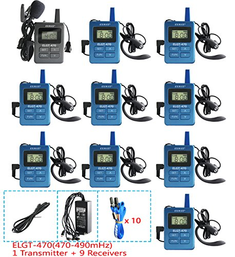 EXMAX ELGT-470 UHF Microphone Church Translation System Interpreting Equipment 100 Channels for Traveling,Conference,Training,Teaching(1 Transmitter & 9 Receivers with 10-port Micro USB Charger)