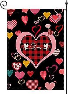 YaoChong Valentines Day Garden Flag,Red Love Hearts Buffalo Check Plaid for Valentine's Day Rustic Farmland Burlap Yard La...