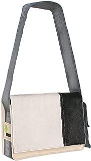 Provoked Messenger Bag MINI E4112- aus Kuhfell: schwarz & LKW-Plane: beige, 26x21x10cm