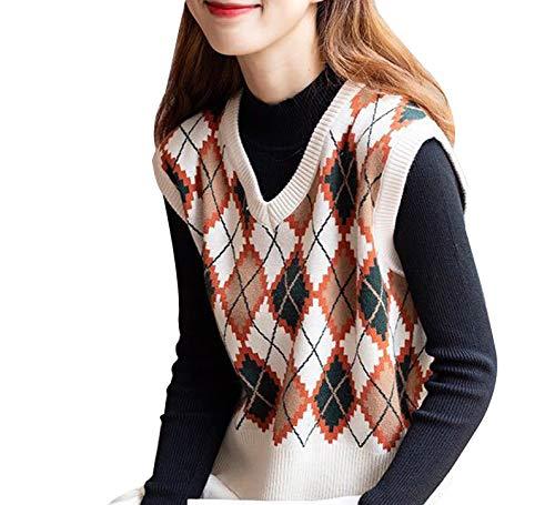 WangsCanis las Mujeres sin Mangas de Tela Escocesa de Argyle suéter de Punto Chaleco Flojo streetwearv Cuello géneros de Punto del Tanque de Muy Buen Gusto suéter Superior(Albaricoque,un tamaño)