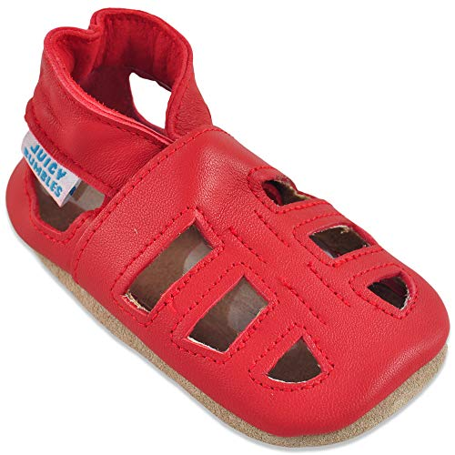 Baby Sandalen - Lauflernschuhe - Krabbelschuhe - Babyschuhe - Roten T-Bar Sandalen 0-6 Monate (Größe 19/20)