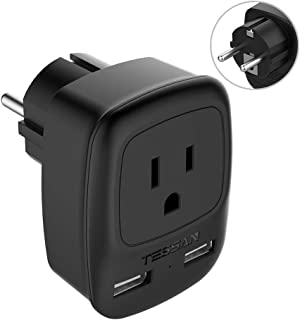 Schuko Germany France Power Adapter, TESSAN Europe Travel Grounded Plug with 2 USB Ports, European Outlet Adaptor for US to Norway Poland Iceland Spain (Type E/F)