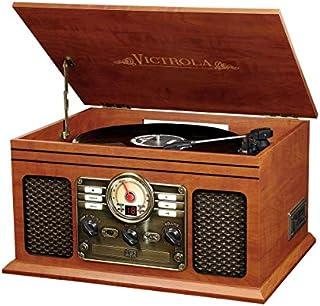 Innovative Technology VTA-200B MH Victrola Nostalgic Classic Wood 6-in-1 Bluetooth Turntable Entertainment Center, Mahogany
