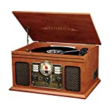 Innovative Technology Nostalgic Classic Wood 6-in-1 Bluetooth Turntable Entertainment Center, Mahogany