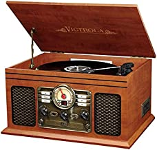 Victrola Nostalgic 6-in-1 Bluetooth Record Player & Multimedia Center with Built-in Speakers - 3-Speed Turntable, CD & Cassette Player, AM/FM Radio   Wireless Music Streaming   Mahogany
