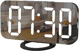 ساعة رقمية كبيرة، سطح مرآة كهربائي بمنبه LED لوضع المكياج مع وضع التعتيم والسطوع 3 مستويات، منفذ USB لتزيين غرفة النوم الم...