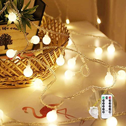 Cadena de luces LED, 10 m, 100 ledes, redondas, con mando a distancia, para interior y exterior, Navidad, bodas, fiestas, árbol de Navidad