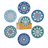 ComSaf Coasters for Drinks, Absorbent Coaster with Holder Set of 6, Mandala Style Ceramic Coaster with Cork Base, Tabletop Protection Coaster Gift for Housewarming Home Bar Decor Bohemiya BOHO, 4 Inch