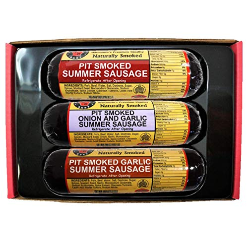 Wisconsins Best Real Wisconsin Pit Smoked Summer Sausage Sampler Gift Basket: Original, Garlic, and Onion & Garlic | Snack or Gift for Family & Friends