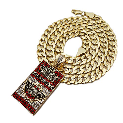 BLINGFACTORY Hip Hop Swisher Sweets CIGARILLOS & 14K Stamped 24' Miami Cuban Chain Necklace