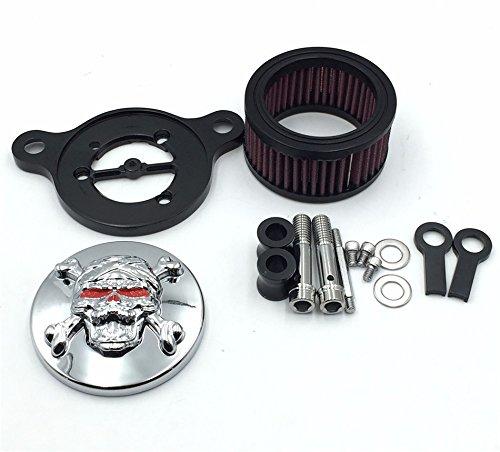 Htt Chromé Tête de mort avec os croisés spécial Yeux Système de filtre d'entrée d'air Cleaner Kit pour Harley Sportster Xl883 Xl1200 1988–2015
