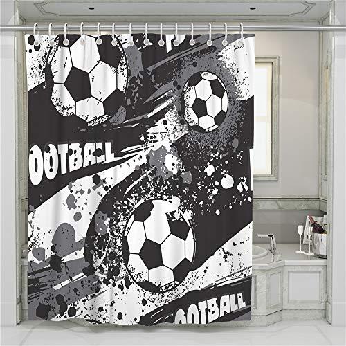Hiser Duschvorhang Hohe Qualität PolyesterWasserdicht Anti-Schimmel Anti-Bakteriell 3D Drucken mit C-Form 12 Ringe Kunststoff Haken Bad Vorhang für Badzimmer (Fußball,90x180cm)