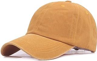 JAUROUXIYUJIN New Female Hat Baseball Cap Washed Cotton Baseball Cap Spring Autumn Baseball Cap Men's Cap Monochrome Simple Sun Hat (Color : Orange, Size : 56-60CM)