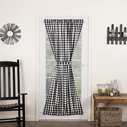 VHC Brands Annie Buffalo Check Curtain, Door Panel 72x40, Black