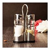 JYSLI Monto 2PCS / Set Inoxidable Frasco de Vidrio de Acero condimento Conjunto vinagrera Ajuste de la Tabla Conjunto de Botella de la coctelera de Sal Pimienta Detenido (Color : Silver)