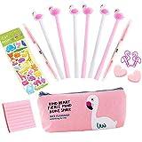 Cadeaux Flamingo pour enfants, 6 pcs Stylo à bille noir Stylos mignons qui pointe...
