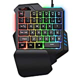 Gaming Keyboard,Gaming keypad,SADES One-Hand Gaming KeyboardSmall Gaming Keyboard Feel Wide Hand Rest with 35 Keys,RGB Gaming Keyboard Colorful Backlight, for Game LOL/PUBG/Fortnite/Wow/Dota/OW