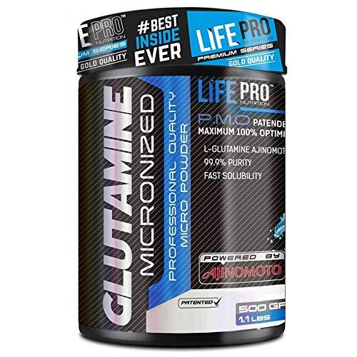 Life Pro Glutamine Ajinomoto® – Suplemento deportivo de glutamina para contribuir al crecimiento muscular y evitar el catabolismo – L-Glutamina para la recuperación muscular – 500 gramos