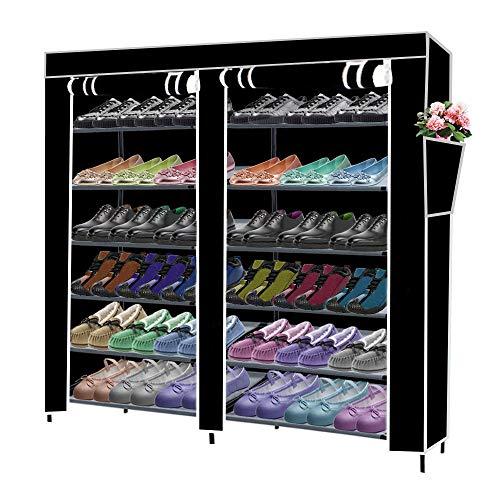 Cuekondy Double Row 7 Layer 6 Grid Waterproof Shoe Rack Shoe Storage Shelf Organizer Shoe Cabinet Tower with Dustproof Cover