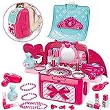 Buyger 2 en 1 Maletin Maquillaje Niñas Juguete Kit de Belleza Peluqueria Joyería Tocador para 3 4 5 Años Princesa Niños Niña