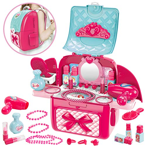 Buyger 2 en 1 Maletin Maquillaje Niñas Juguete Kit de Belleza Peluqueria...