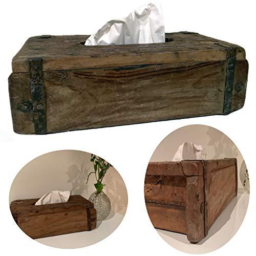 LS-LebenStil Holz Tissuebox Braun 31x15cm Ziegelform Kosmetiktuch-Box Taschentuch