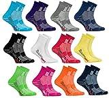 Rainbow Socks - Ragazza Ragazzo Colorate Calzini Sportivi di Cotone - 12 Paia - Rojo Verde Amarillo Blu de Mar Blu Blu Marino Rosa Bianco Negro Grigio Naranja Púrpura - Taglia 24-29