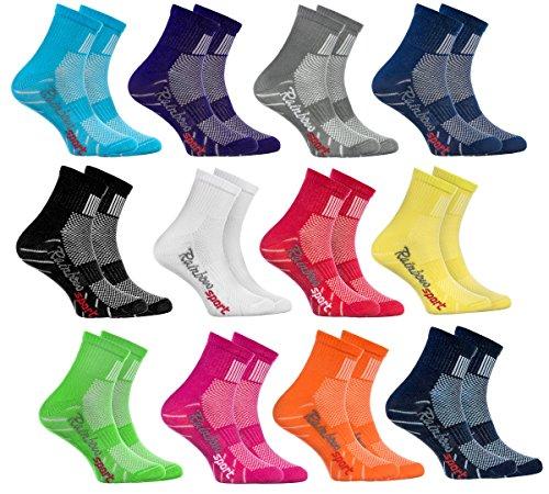 Rainbow Socks - Ragazza Ragazzo Colorate Calzini Sportivi di Cotone - 12 Paia - Rojo Verde Amarillo Blu de Mar Blu Blu Marino Rosa Bianco Negro Grigio Naranja Púrpura - Taglia 30-35