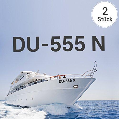 Motoking Bootskennzeichen - Ihr Kennzeichen als Aufkleber - Wähle Farbe & Größe - Weiß Seidenmatt - Höhe: 10 cm