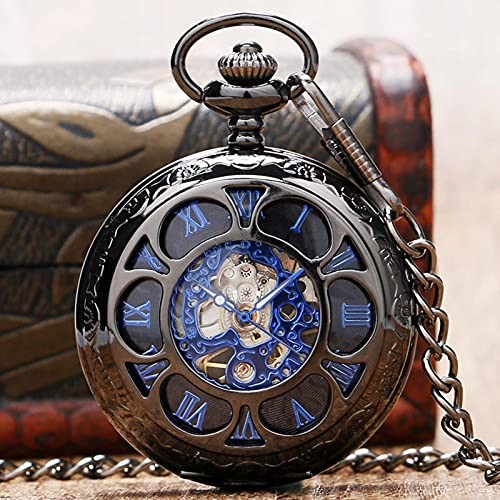SSXR Lujo Steampunk Hollow Skeleton Reloj de Bolsillo mecánico Números Romanos Dial Vintage Fob Cadena Reloj Colgante Hombres Mujeres Regalos-China, a