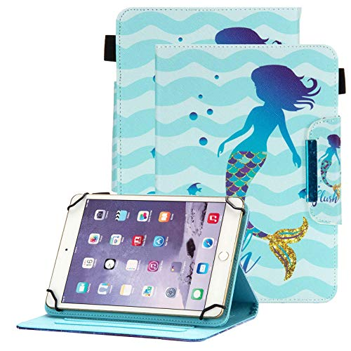 Popbag Universal Case for 7 Inch Tablet - Stand Wallet Fold Cover for Galaxy Tab 7.0 / Dragon Touch 7.0 / Fire 7 / Onn 7' / RCA Voyager 7.0 / HDX 7 / Huawei T3 / Lenovo Tab 7 Inch Tablet, Mermaid
