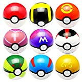Aikar 7cm Poke Ball Pokemon Ball Set - 9PCS Pokeball + 9PCS Pokemon / Pikachu Cosplay Pop-up Master Great Ultra GS Action Figures Toys ( Pikachu and Pokemon Random )