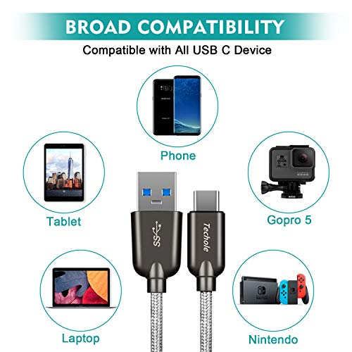 USB C Kabel Techole Typ C Ladekabel [2Pack], 3A USB C Ladekabel Nylon USB C Schnellladekabel auf USB 3.0 Ladekabel für Samsung Galaxy S10 S9 S8 Plus, Huawei P20 P10 P9 Lite, MacBook usw. (0.15M+1M)