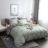 N/C Biancheria da letto 155 x 220 cm, verde, verde chiaro, grigio antracite, in microfibra, set copripiumino singolo con chiusura lampo e 1 federa 80 x 80 cm
