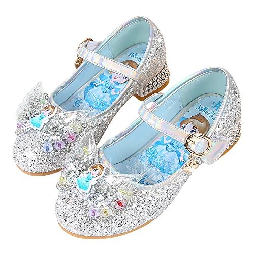 Eleasica Zapato de Princesa Cenicienta Azul Bailarina Rosa Princesa Aurora Zapato de Mini tacn Plateado Reina Elsa Diseo de Mariposa Punta Zapato de Lentejuelas de Vestir para nia