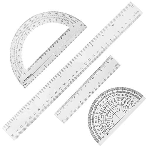 Set of 4, Clear Measuring Tools, DaKuan Plastic Straight Ruler (12 Inches and 6 Inches) and Protractor 180 Degree (4 Inch and 6 Inch)