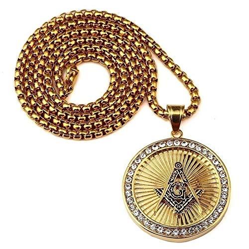 MNMXW Collar con Colgante Redondo de brújula masónica de Oro de Hip Hop High Street