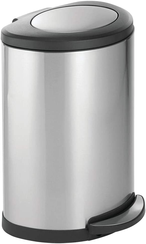 mDesign Modern 45 Liter online shop Oval Swing Max 83% OFF Trash Metal Step Top C Large
