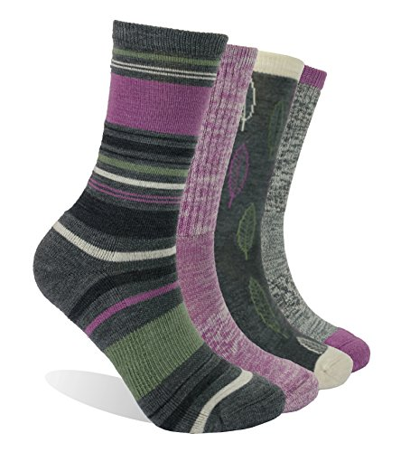Enerwear 4 Pack Women's Merino Wool Outdoor Hiking Trail Crew Sock (US Shoe Size 4-10½, Violet/Gray/Multi)