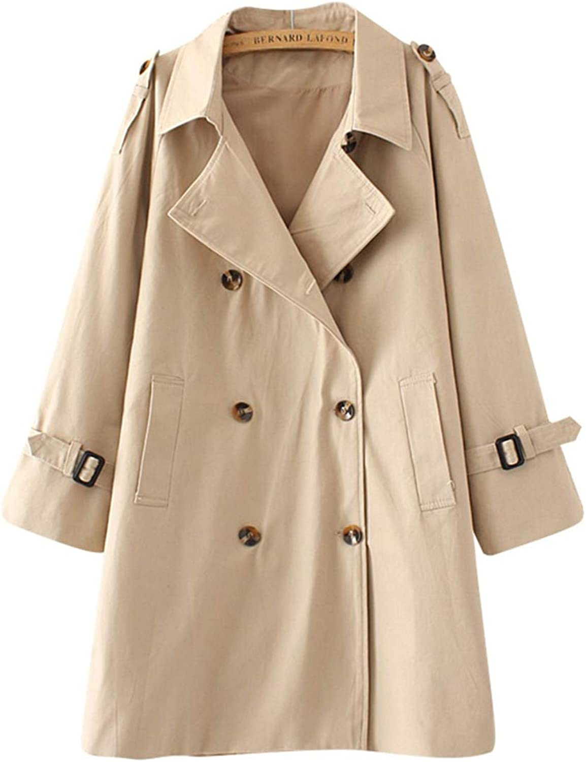 Spring Autumn Casual Trench Coat Women's Large Size Loose DoubleBreasted Windbreakers Long Solid Overcoats