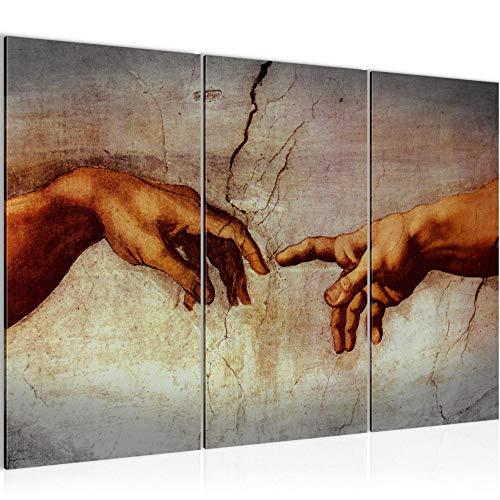 Runa Art Creation of Adam Michelangelo Bild Wandbilder Wohnzimmer XXL Hände Erschaffung Adams 120 x 80 cm 3 Teilig Wanddeko 700131a