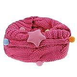 Mädchen Winter Schlauchschal Rundschal warm Loop Schal mit Stern Muster Weich O Ring Schals Halstuch(4 -12 Jahre), Rosa, Einheitsgröße