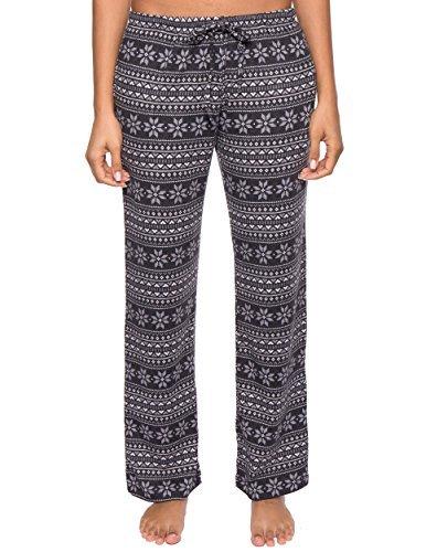 Noble Mount Thermal Pajama Pants for Women - Snowflake Bands - Navy/Grey - Medium