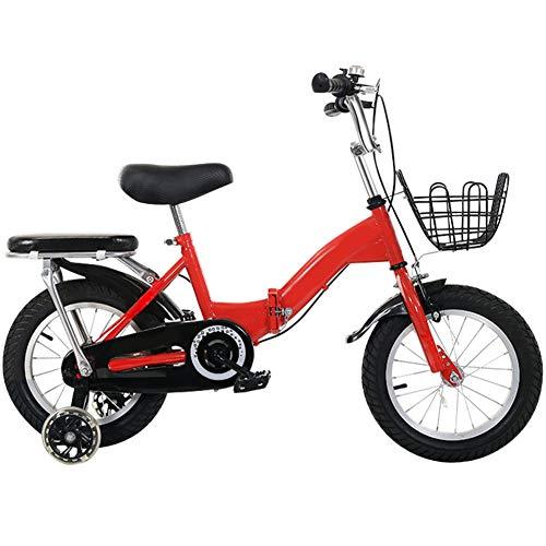 Kids Bikes Plegable Bicicleta Infantil Chico Portable Muchachas 12 14 16 18 Pulgadas Montar Al Aire Libre Rueda De Entrenamiento Flash Neumáticos Resistentes Al Desgaste Marco Reforzado(Size:18in)